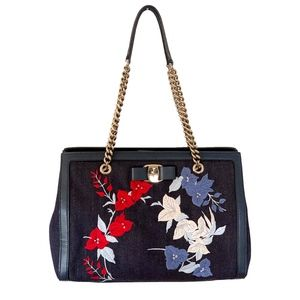 Ferragamo Embroidered Denim and Leather Satchel